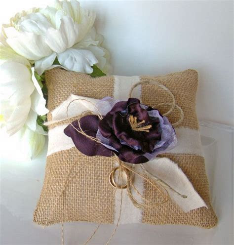 Burlap Ring Bearer Pillow Purple Ring Pillow by