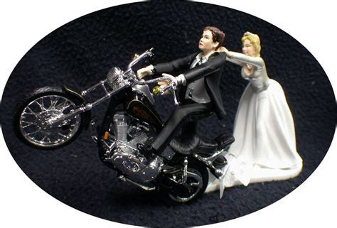 Motorcycle Wedding Cake Topper W/ Black Harley Davidson
