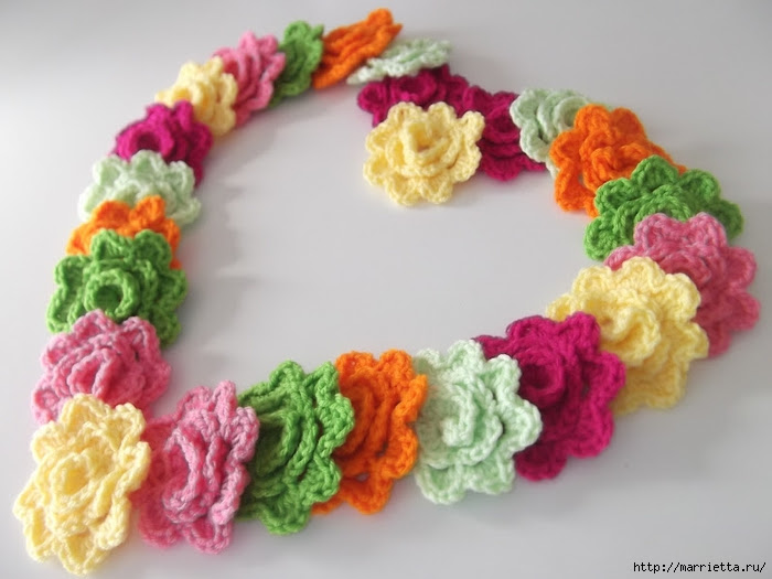 Crochet.  Tack with volume rose (7) (700x525, 206Kb)