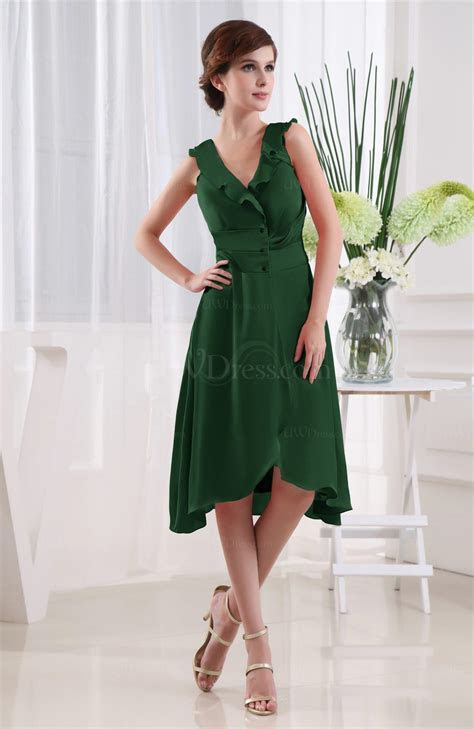 Hunter Green Simple A line Zipper Chiffon Satin Knee