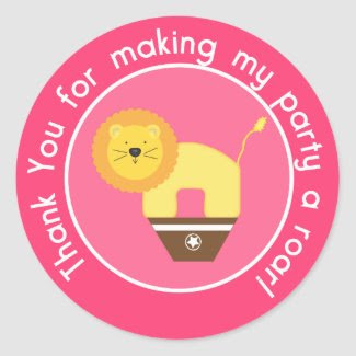Pink Lion Birthday Cupcake Toppers/Stickers zazzle_sticker