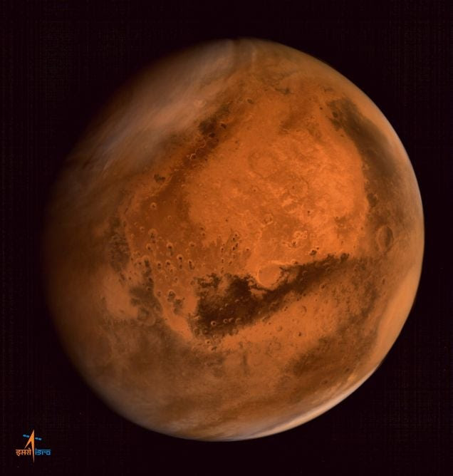 The First Full Color Photo of Mars from India's Orbiter