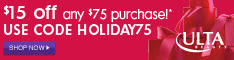 $15 off $75 with code HOLIDAY75 10/31-12/25