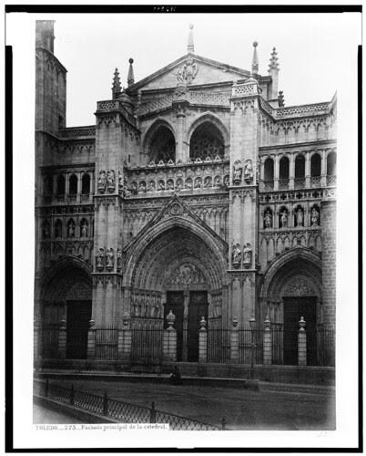 Catedral de Toledo (fachada) en el siglo XIX. Fotografía de Jean Laurent. The Library of Congress of the United States of America