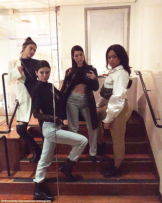 'Little dinner party': New mom Jenner enjoyed a girls' night out on Thursday with sisters Kourtney and Kendall and BFF Jordyn Woods