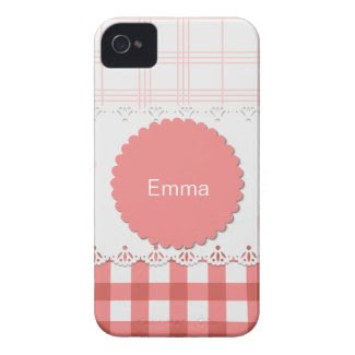 Plaid {pink} Personalized Iphone 4 Case-mate Cases