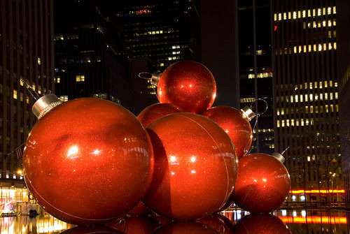 Christmas mood in New York City: Supersized tree ornaments on 6th Ave by jankor