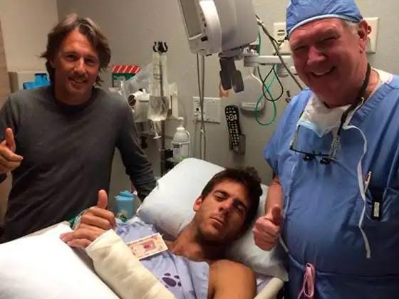 Juan Martín del Potro junto a su entrenador, Franco Davín, y el cirujano Richard Berger, que realizó la operación. Foto: Facebook oficial de Juan Martín del Potro
