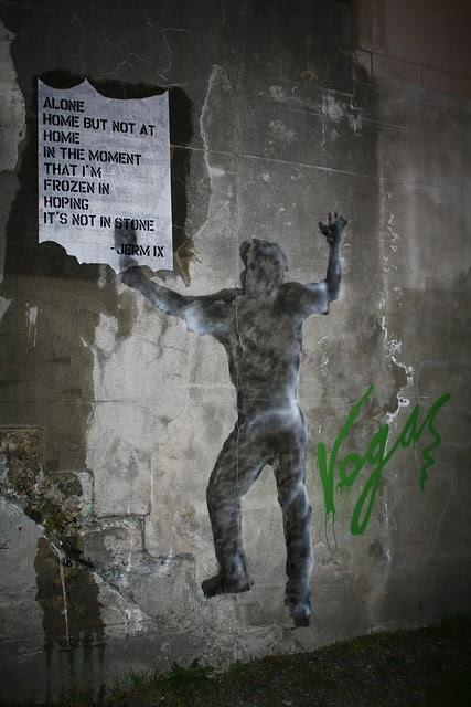 shadow of a street artist