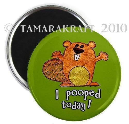 I Pooped Today Beaver Magnet or Button - You Choose