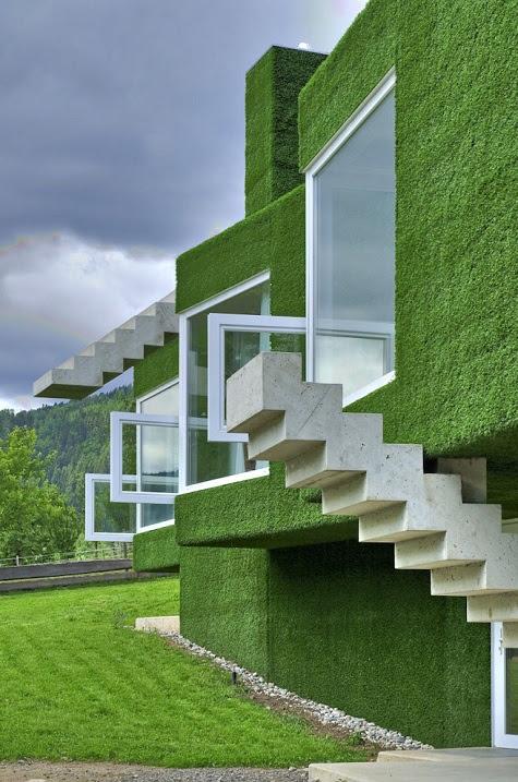 Зеленый дом в Австрии, покрытый травой