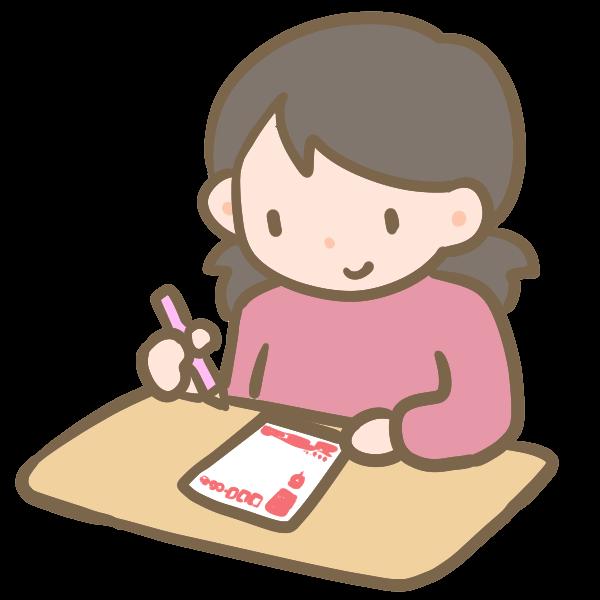年賀状を書く女の子のイラスト かわいいフリー素材が無料のイラストレイン