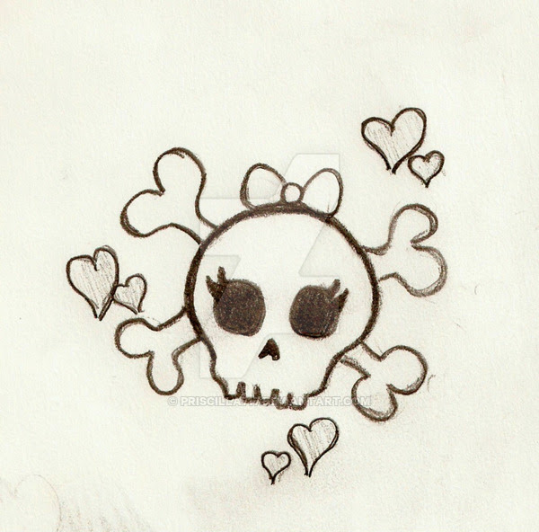 Girly Skull Drawing At Getdrawingscom Free For Personal Use Girly