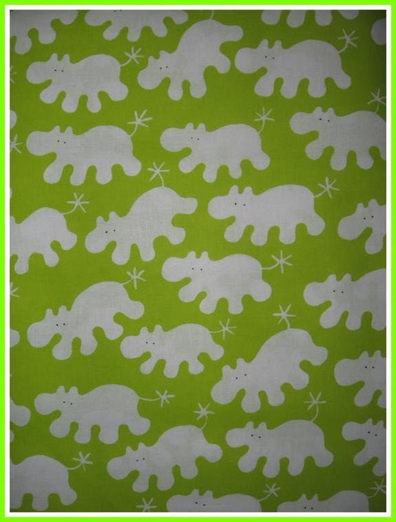 Ikea fabric Barnslig lime white Hippos full 3 yd