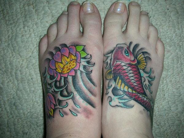 Lotus Flower And Fish Tattoo On Foot
