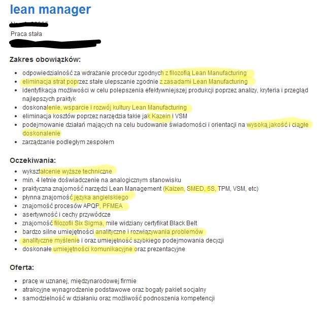 Przykład Cv Dla Lean Managera Krok Po Kroku Tajemnice Kariery