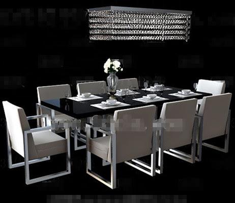Long black dining table combination 3D Model Download,Free 3D Models Download