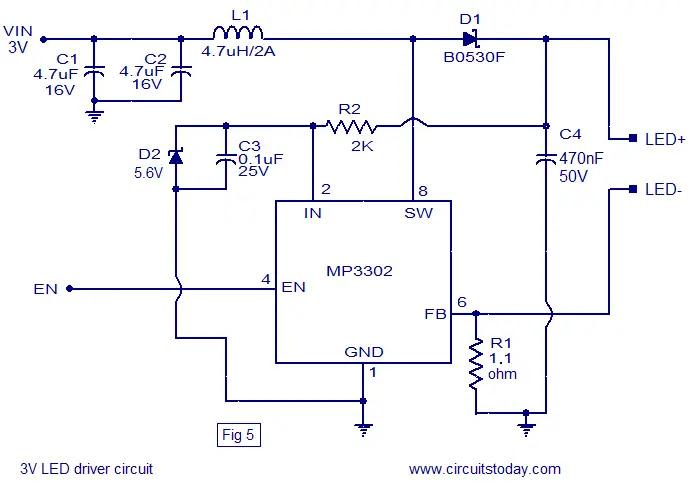 3V LED driver circuit