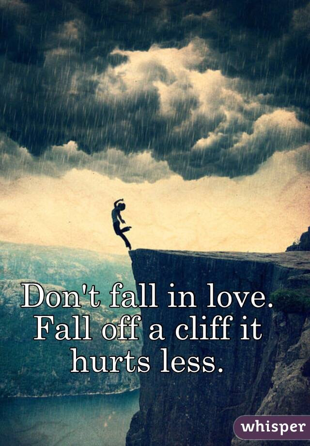 Dont Fall In Love Fall Off A Cliff It Hurts Less