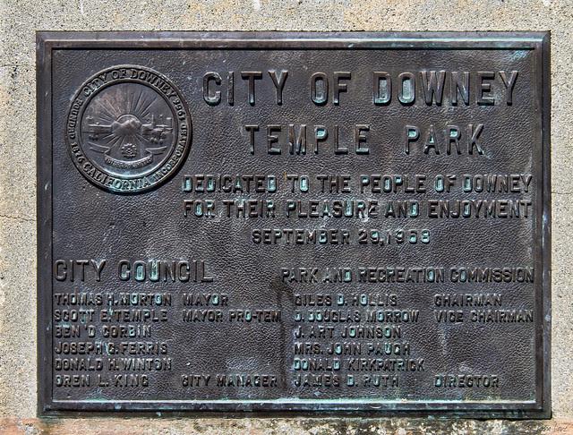 Temple Park plaque