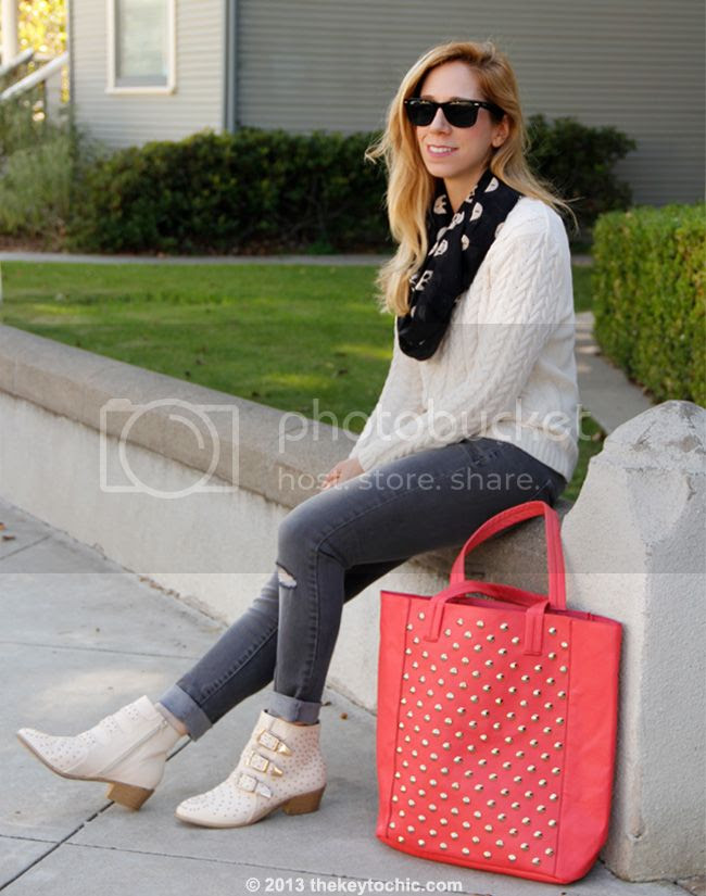 Cotton On cable knit sweater, Mossimo gray skinny jeans, Charlotte Russe studded triple buckle ankle bootie, Charlotte Russe skull infinity scarf, and Charlotte Russe coral studded tote bag