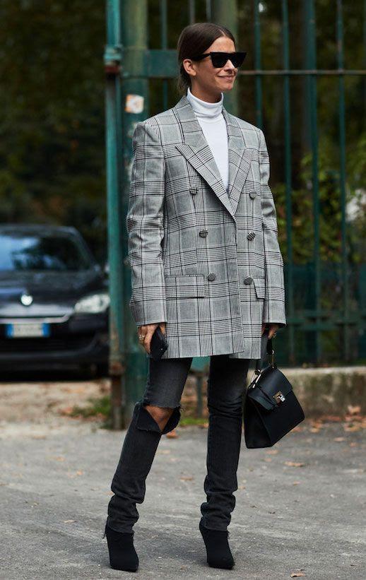 Le Fashion Blog Sunglasses White Turtleneck Oversized Plaid Blazer Distressed Black Jeans Black Booties Via The Fashion Spot