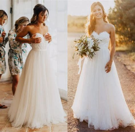 Discount Elegant Tulle Beach Wedding Dresses 2017