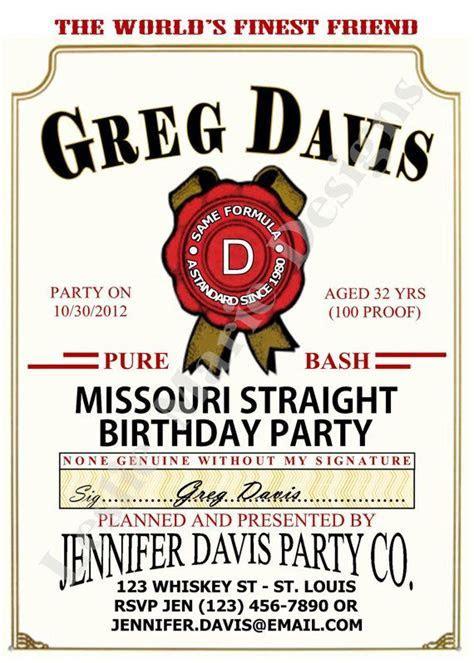 JIM BEAM LABEL Birthday Party Invite   Printable