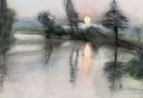 blastedheath:  Michael Andrews (British, 1928-1995), Moonlit pond, 1981. Watercolour, 8¼ x 121/8 in. (21 x 30.7cm.)