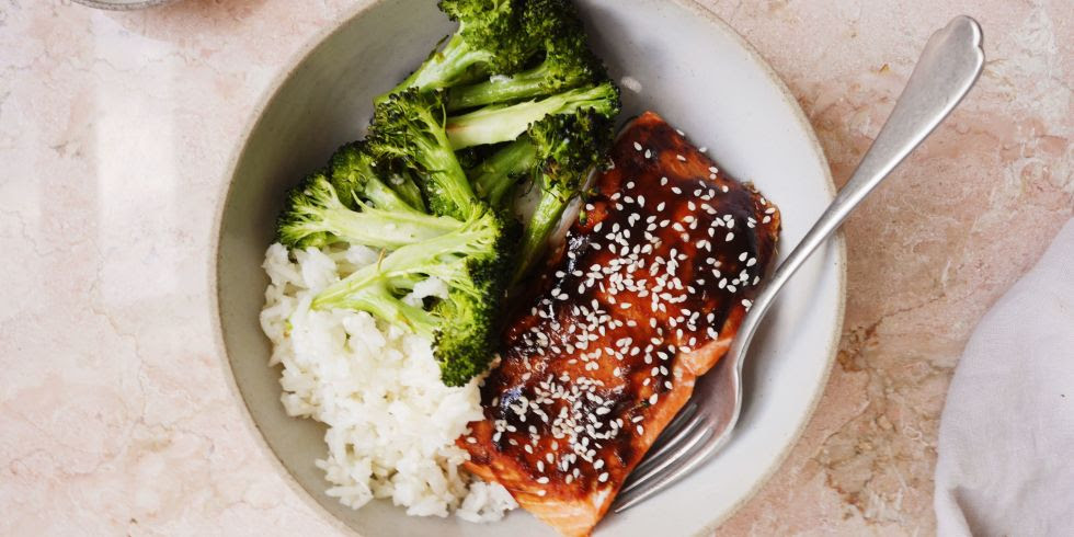 Hoisin-Glazed Salmon with Broccoli and Sesame Rice Horizontal