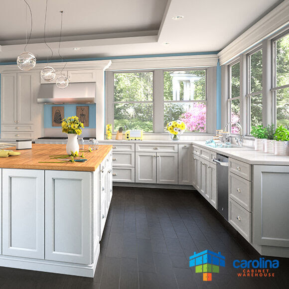 All Solid Wood Cabinets, White Kitchen Cabinets 10X10 RTA ...