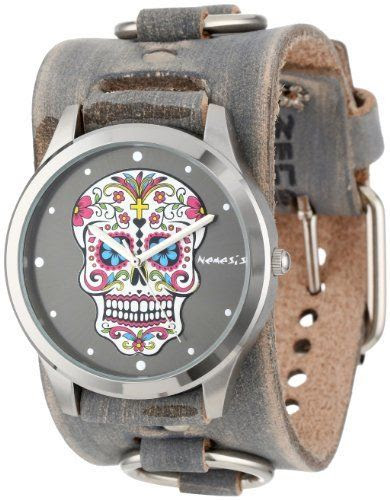 Nemesis Women's FRB925K Punk Rock Collection Black Sugar Skull Leather Cuff Band Watch