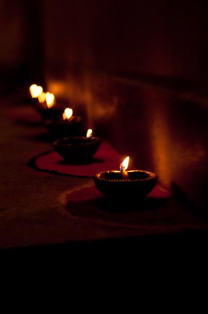 Diwali Diya with heart bokeh
