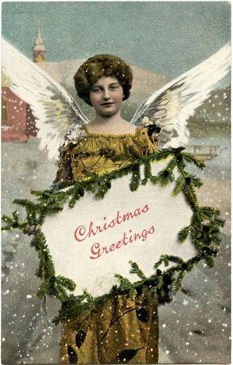 Charming Christmas Greetings Angel Tag!   The Graphics Fairy