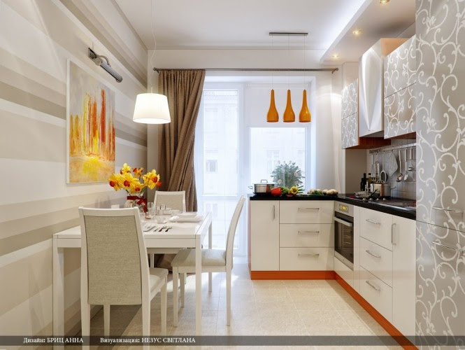 orange gray patterned kitchen cabinets