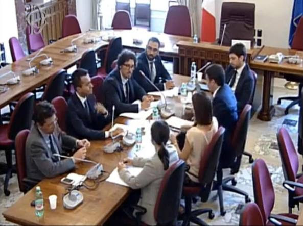 Matteo Renzi all'incontro con il M5S  (Ansa)