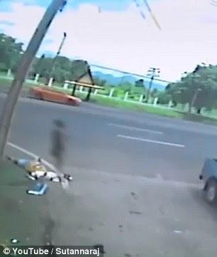 CCTV outside the Phibun Songkram Camp in Lopburi, Thailand captured the scene