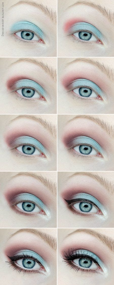 Eye Shadow Tutorial: #eyeshadow #eyemakeup #pink #mint #eyetutorial #dressedinmint - bellashoot.com