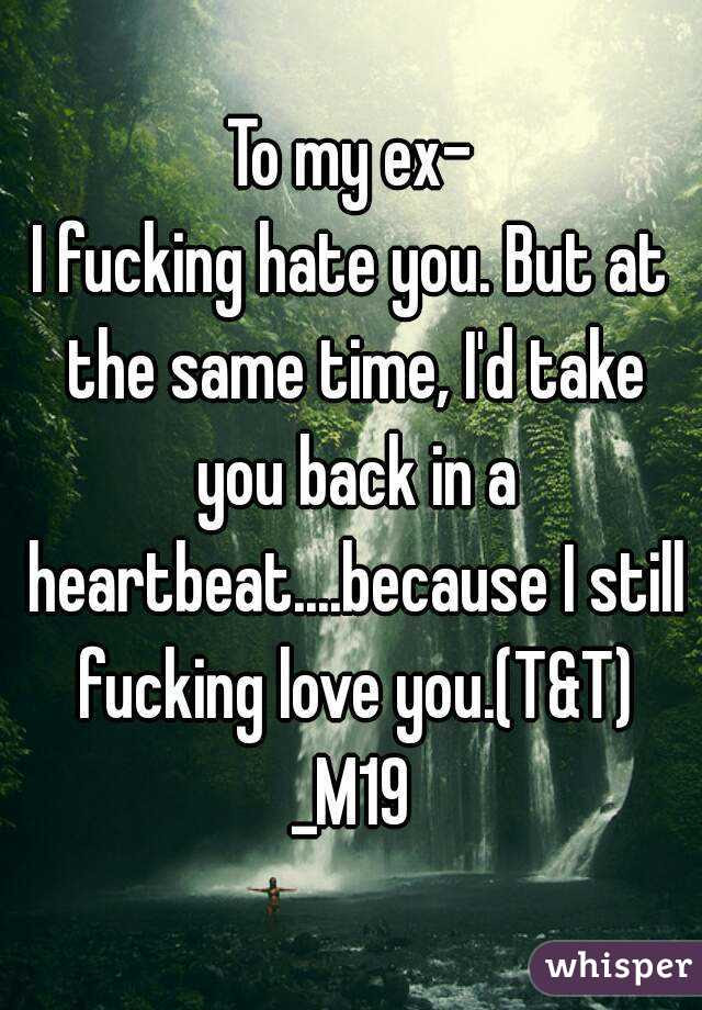 To My Ex I Fucking Hate You But At The Same Time Id Take You