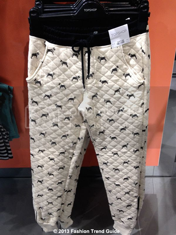 Topshop dog quilted joggers, quilted dog print sweatpants