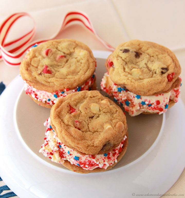 Patriotic Ice Cream Sandwich is a delicious way to keep cool this summer! #dessert #cookies by www.whatscookingwithruthie.com