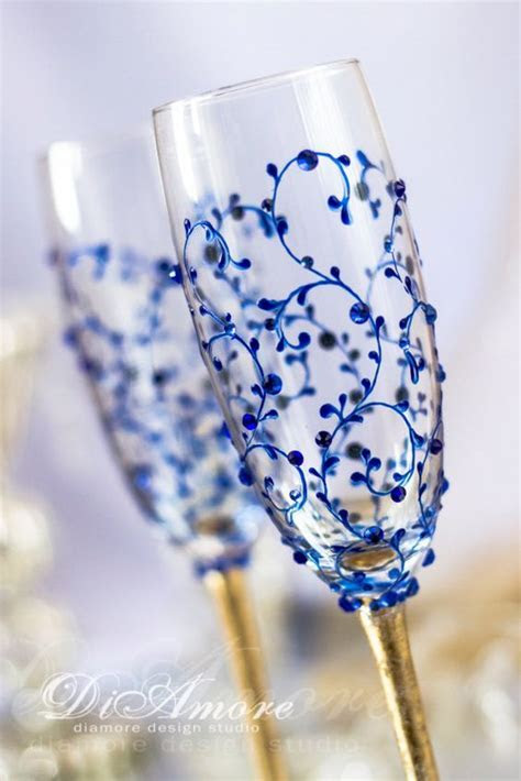 Gold and Royal Blue Wedding Champagne Glasses, Modern