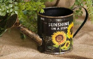 Primitive Country Sunflower Watering Can Small Tin Sunshine Farms ...