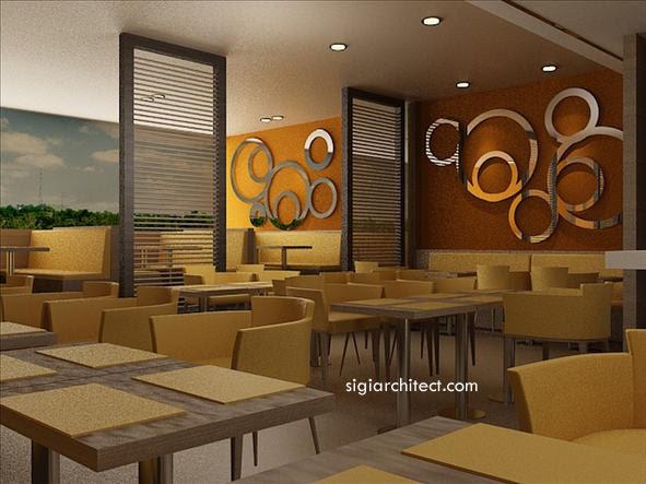 Desain Restoran Berinterior Minimalis Tropis