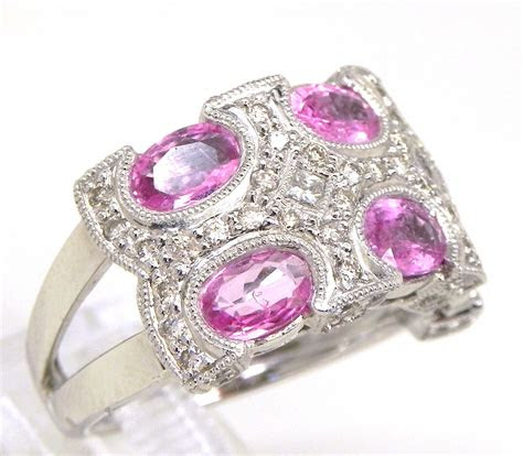 ladies  white gold  cts oval pink sapphire diamonds