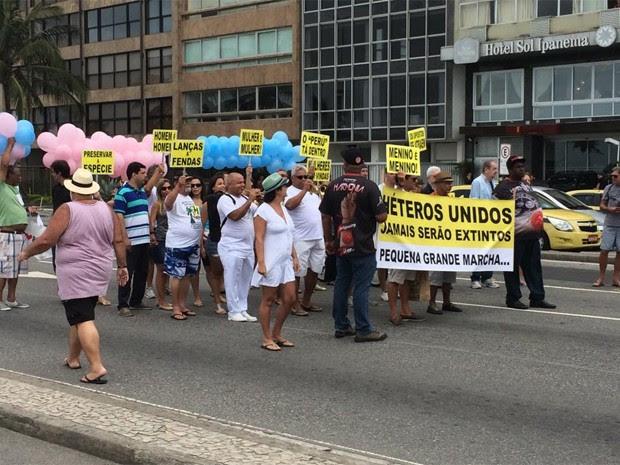 Marcha do Orgulho Hétero reúne poucas pessoas na Zona Sul do Rio (Foto: Eduardo Vallim/G1)