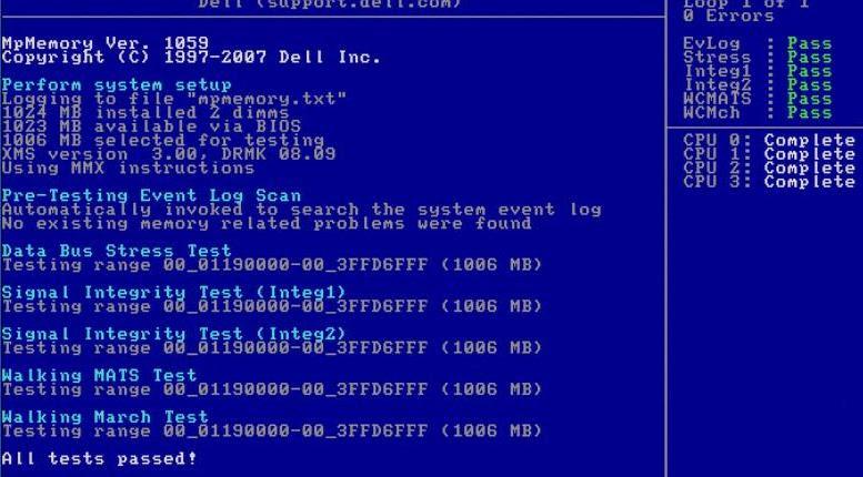 Dell Diagnostics - MpMemory Test