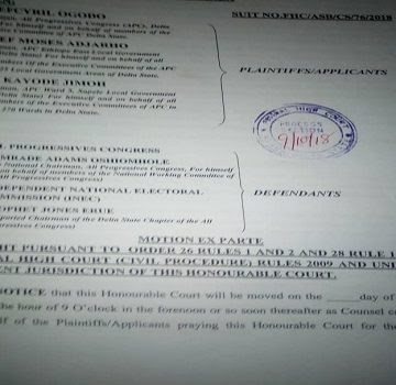 Court Bars APC From Submitting Delta Candidates List To INEC