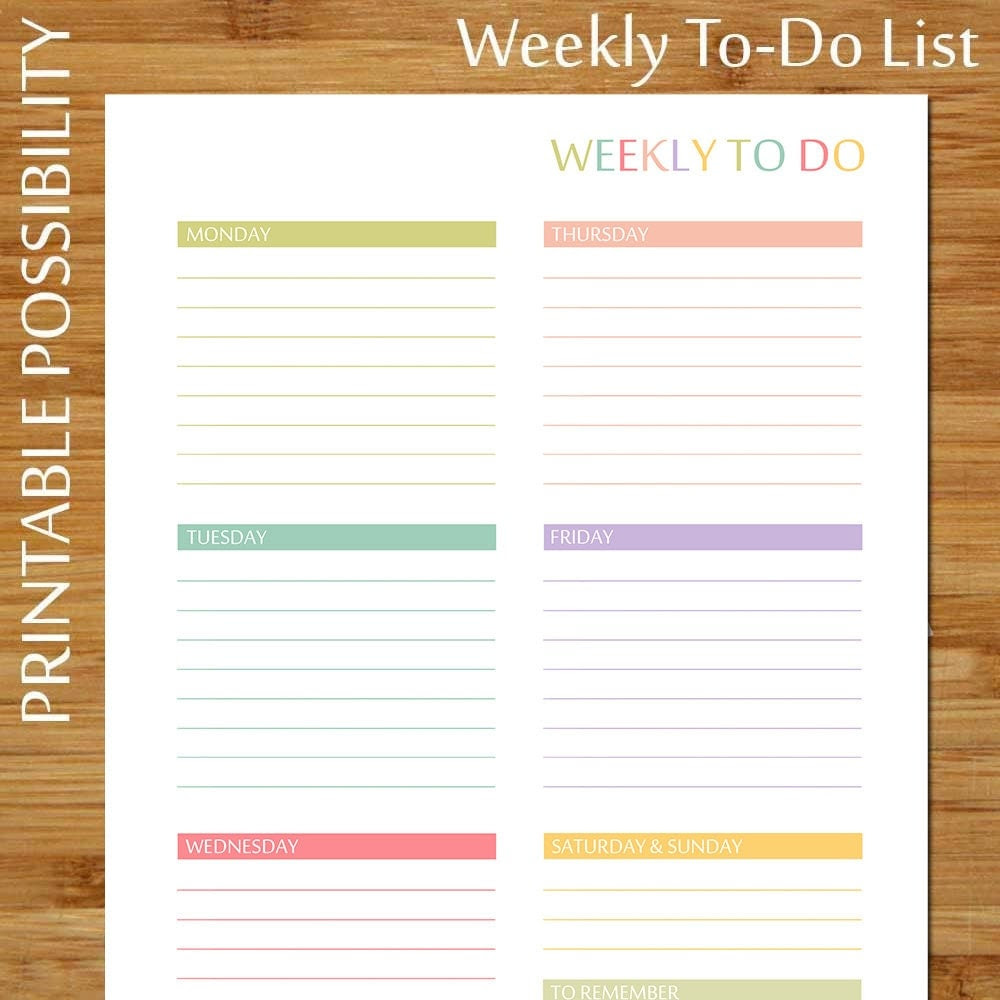 Printable Weekly To Do List PASTELS by PrintablePossibility