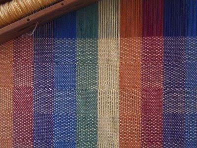 Rainbow warped multiple tabby weave.